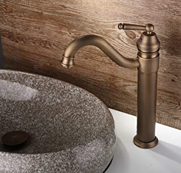 HCTOTOP Antique Tall 360 Swivel Bathroom Sink Faucet Waterfall Basin ...