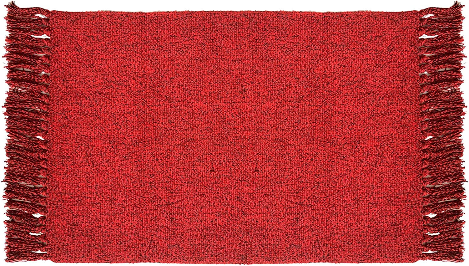 Ukeler Hand Woven Rug Breathable Cotton & Polyester Table Covers Sofa Decor Washable Decorative Area Rugs for Kitchen, Laundry,Living Room, Bedroom, Bathroom, Office (Black & Red, 23.6