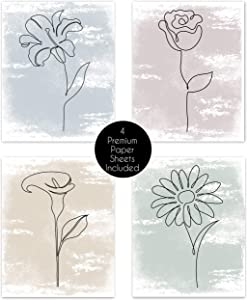 Boho Minimalist Flower Line Art Watercolor Multicolor Abstract Farmhouse Wall Art Posters Home Living Room Decor Simple Aesthetic Rose Daisy Wildflower Pictures Prints Decorations Kitchen Bedroom