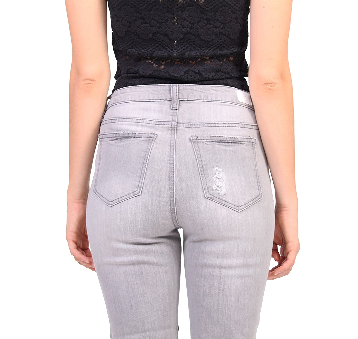 f27a6bee77 Amazon.com  Celebrity Pink Jeans Women Grey Distressed Ankle Straight Jeans  with 5 Front Button  Clothing
