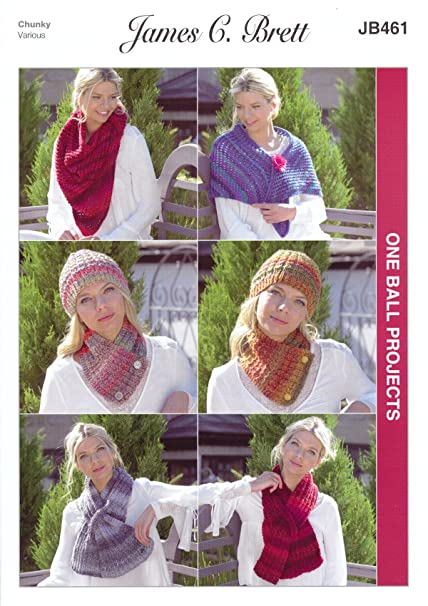 3c8f5f7adbd James C Brett JB461 Knitting Pattern Scarves Wrap and Hat - 1 Ball Projects  in Marble Chunky  Amazon.co.uk  Kitchen   Home