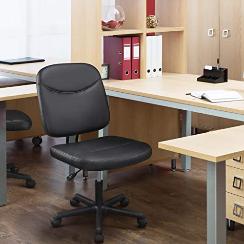 YAHEETECH Armless Leather Desk Chair Mid-Back Adjustable Office Chair Task Chair