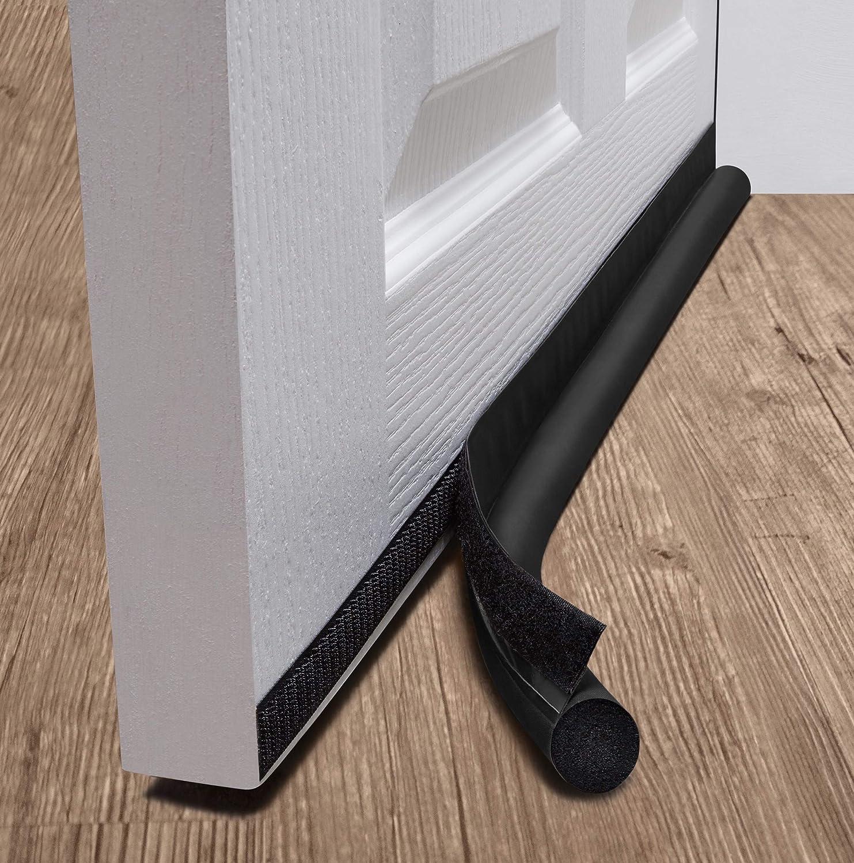 """deeToolMan Door Draft Stopper 36""""- Brown (Set of 2) : One Sided Door Insulator with Hook and Loop Self Adhesive Tape Seal Fits to Bottom of Door"""
