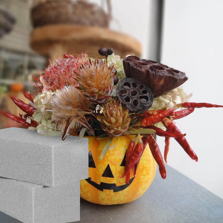 Relaxdays Steckschaum f/ür Trockenblumen grau 3 St/ück HBT 7,5x20x10cm Trockensteckschaum Blumengestecke 3er Set Steckziegel