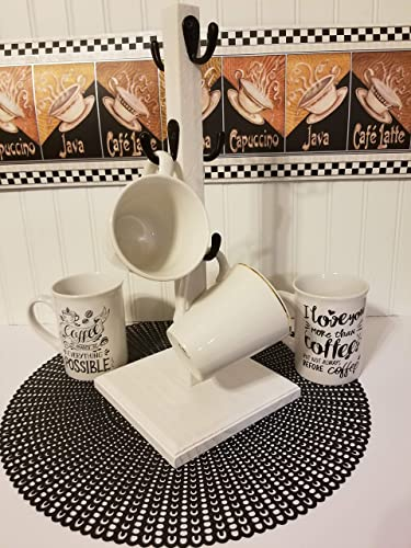 Amazon Com Rustic Mug Stand Coffee Mug Tree White 6 Hook Farmhouse Coffee Bar Handmade