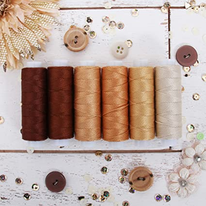 Hardanger Crochet 6 Brown Shades Perle Cotton for Friendship Bracelets Hand Embroidery Cross Stitch Needlepoint 75yd Spools Size 8 Threadart 6 Color Pearl Cotton Thread Set Brown Shades
