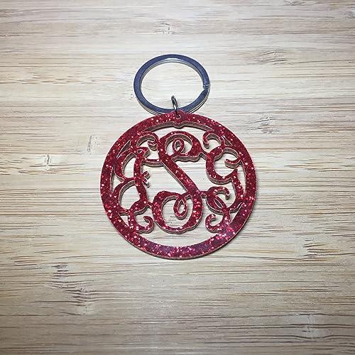 Amazon com: Red Glitter Acrylic Keychain, Glitter Monogram