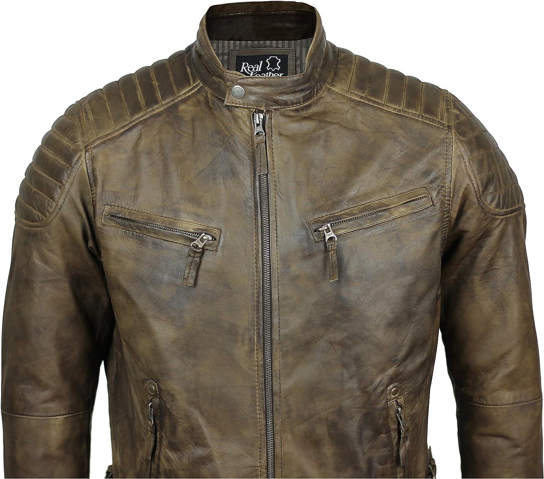 New Mens Soft Real Leather Biker Jacket Slim Fit Vintage in Antiqued Brown Tan