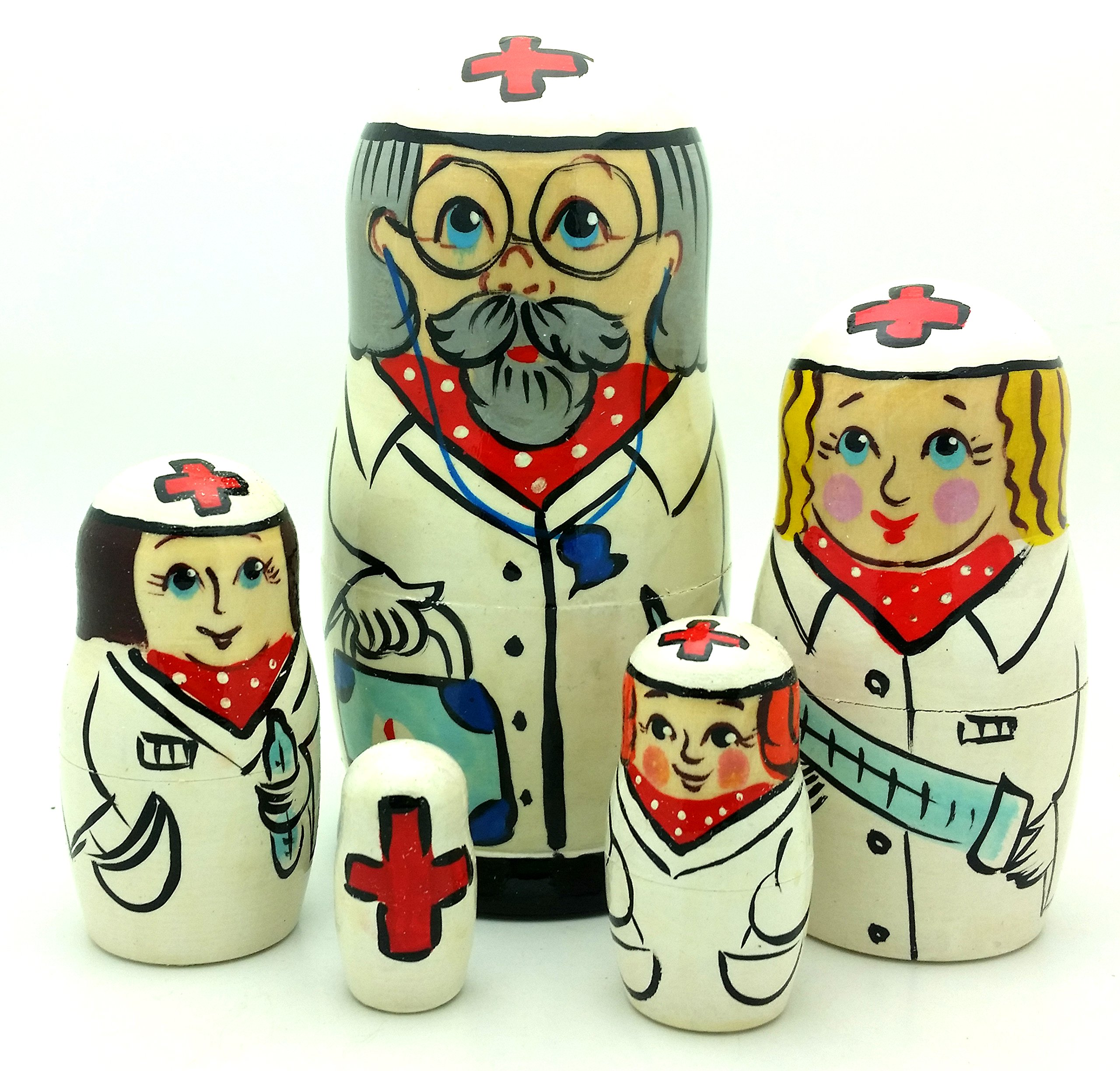 Doctor Nurse Russian Nesting Dolls Hand Painted 5 Piece Set 5'' Tall by BuyRussianGifts