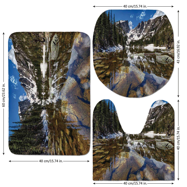3 Piece Bathroom Mat Set,Lake House Decor,Dream Mirroring Lake at the Mountain Park in West America River Snow Away Photo,Green Brown Blue,Bath Mat,Bathroom Carpet Rug,Non-Slip