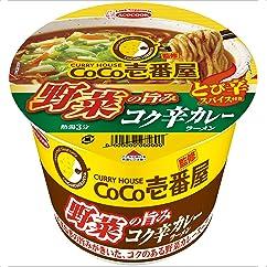 【カップ麺の新商品】エースコック CoCo壱番屋監修 野菜の旨み コク辛カレーラーメン 111g×12個