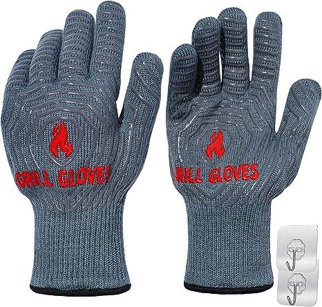 Grey Home BBQ Gloves 1472℉ Heat Resistant Grill Gloves Non-Slip Oven Mitt