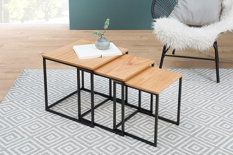 Dunord Design 3er Set Satztisch Eiche Furnier Wohnzimmer Tisch