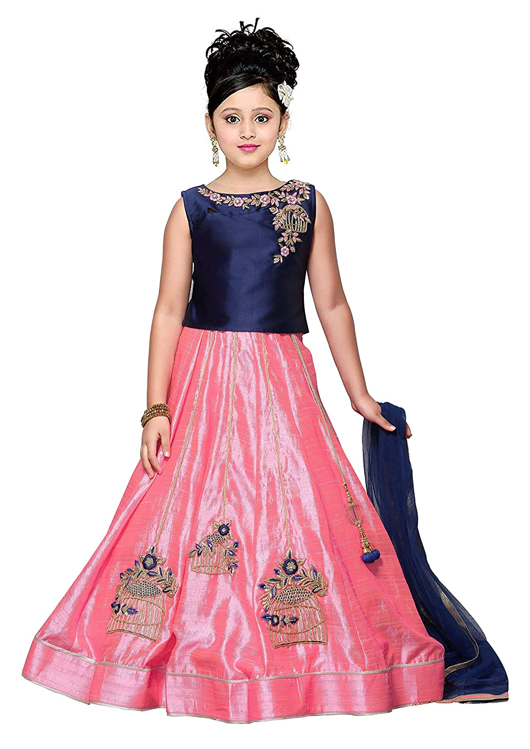 8eb2083cb80 CartyShop Pink N Blue Pinneaple Silk readymade Partywear Ethnic Lehenga  Choli For Girls Kids wear  Amazon.in  Clothing   Accessories