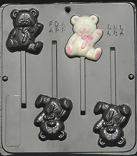 Superb Teddy Bear Lollipop Chocolate Candy Mold Baby Shower 684