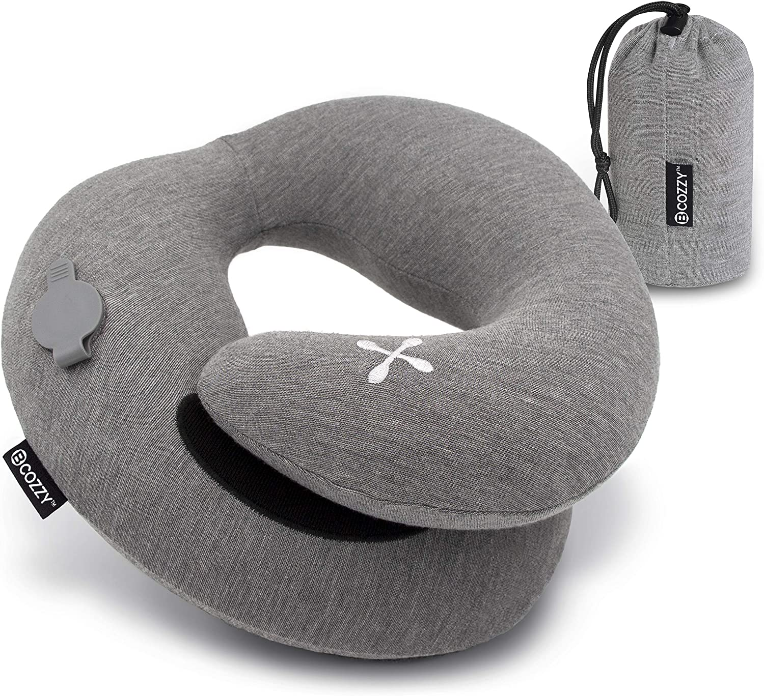 BCOZZY Chin Supporting Travel Pillow Supports the Head, Neck & Chin in Any Sitting Position. A Patented Product. (Inflatable, Gray.)