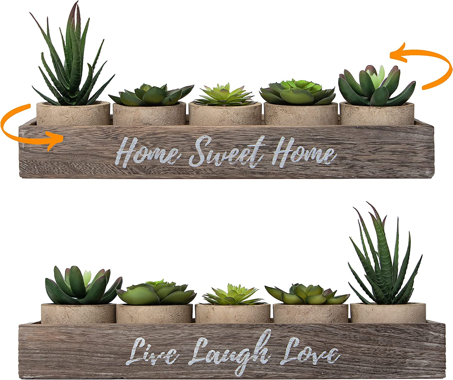 Amazon Com 5 Rustic Set Bathroom Decor Home Decor Kitchen Coffee Table Artificial Plants Flowers Succulents Centerpieces Dining Room Greenery Plant Decorations Living Indoor Apartment Faux Farmhouse Box Kitchen Dining