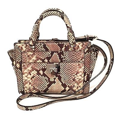 57c34d3056 Michael Kors Women s TINA Small Top Zip Messenger leather shoulder Handbag  Natural  Handbags  Amazon.com