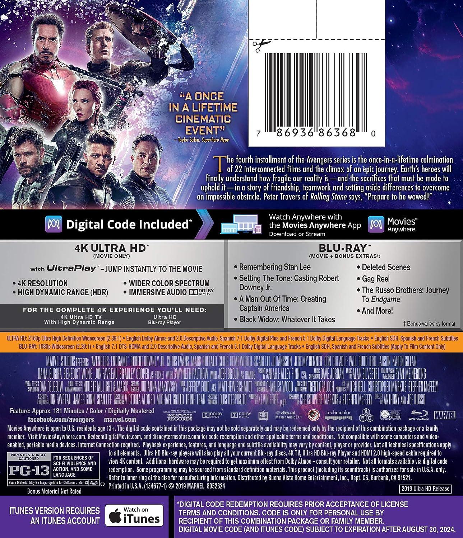 Avengers: Endgame [USA] [Blu-ray]: Amazon.es: Downey, Robert, Jr., Evans, Chris, Hemsworth, Chris, Johansson, Scarlett, Gillan, Karen, Larson, Brie, Rudd, Paul, Cumberbatch, Benedict, Renner, Jeremy, Ruffalo, Mark, Russo, Anthony, Russo, Joe, Downey ...