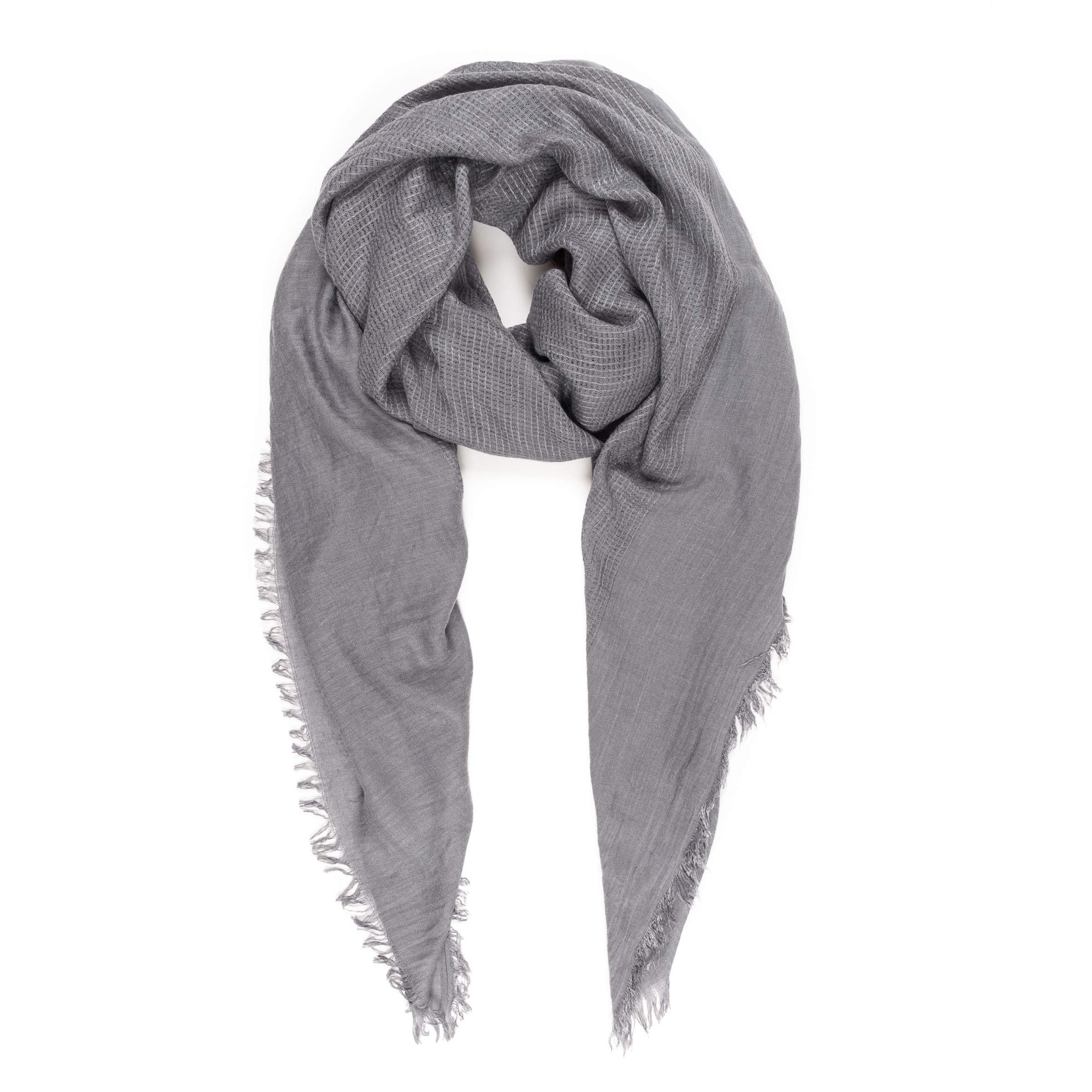 Scarves for Women: Lightweight Elegant Solid colors Fashion Scarf by MIMOSITO (Waffle Textured, Light Gray)