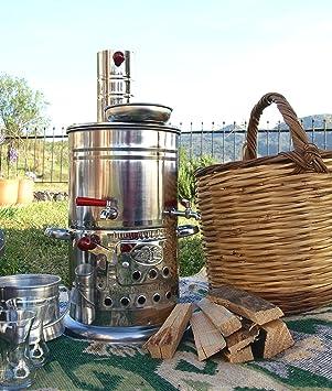 Samovar tradicional turco (Çay Soba):Estufa de leña portátil para acampada, senderismo, pícnic, festivales, huertos y jardines.: Amazon.es: Jardín