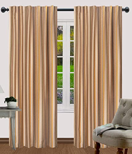 Salsa Stripe Rod Pocket Curtains, Curtains for Kitchen, Living Room Curtain, Cotton Curtains, Curtain Panel Sets, Farmhouse Curtain, Bedroom Curtain Panels – 50×108 Inch- Beige Multi – Set of 2 Panels