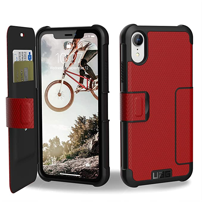 hot sale online 02261 ae212 URBAN ARMOR GEAR UAG iPhone XR [6.1-inch Screen] Metropolis Feather-Light  Rugged Folio [Magma] Military Drop Tested iPhone Card Case