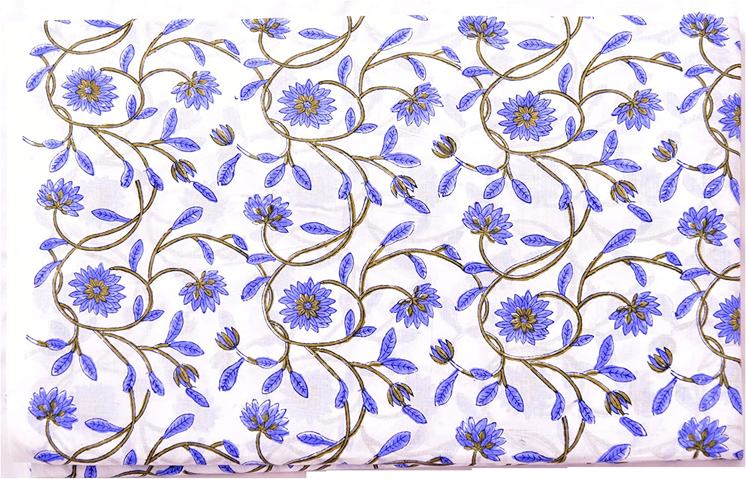 Indian 5 Yard New Hand Block Print White floral Cotton Craft Sewing Fabric