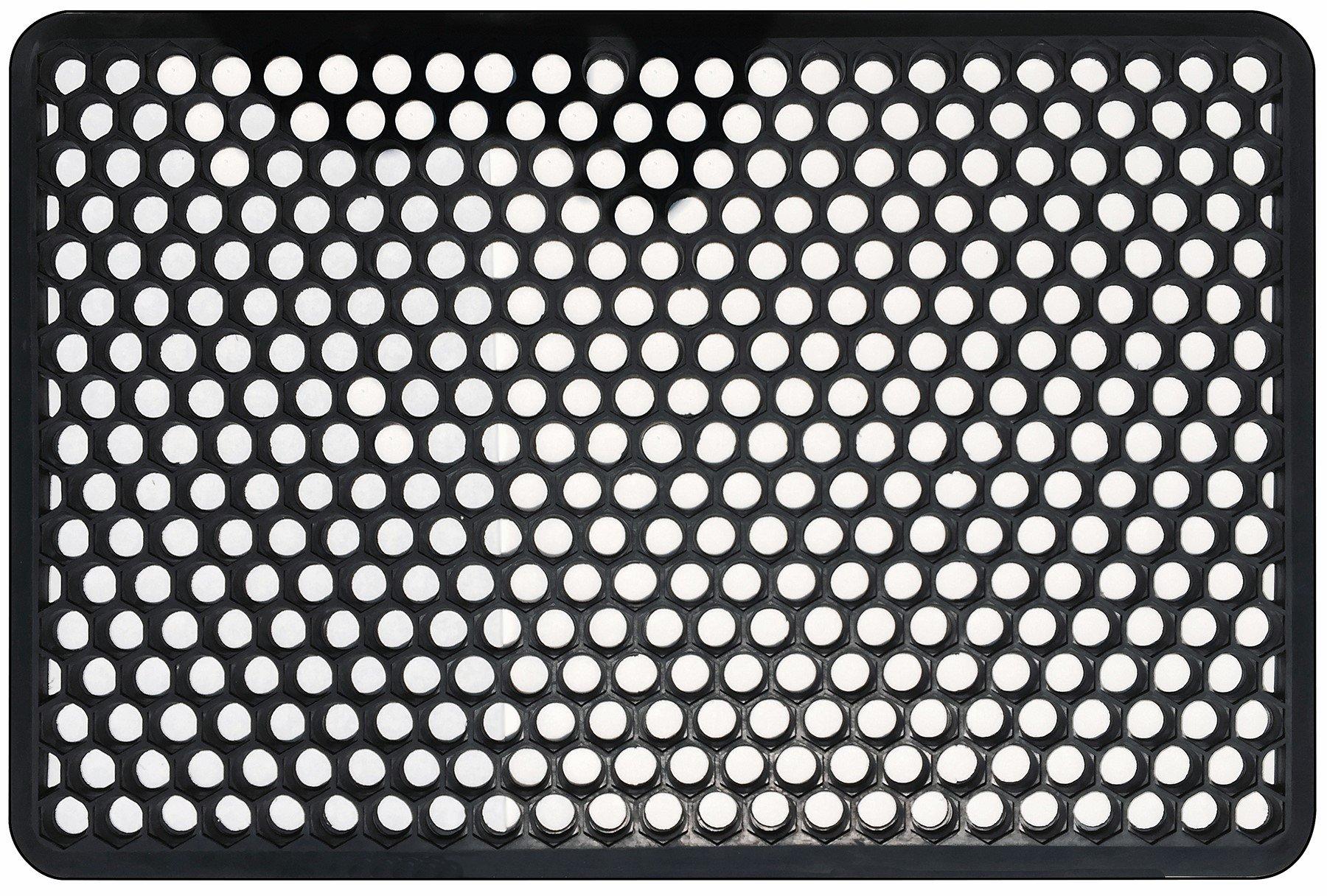 Shepherd Hardware Indoor/Outdoor Recycled Rubber Floor Mat - 22 x 34-Inches, Black