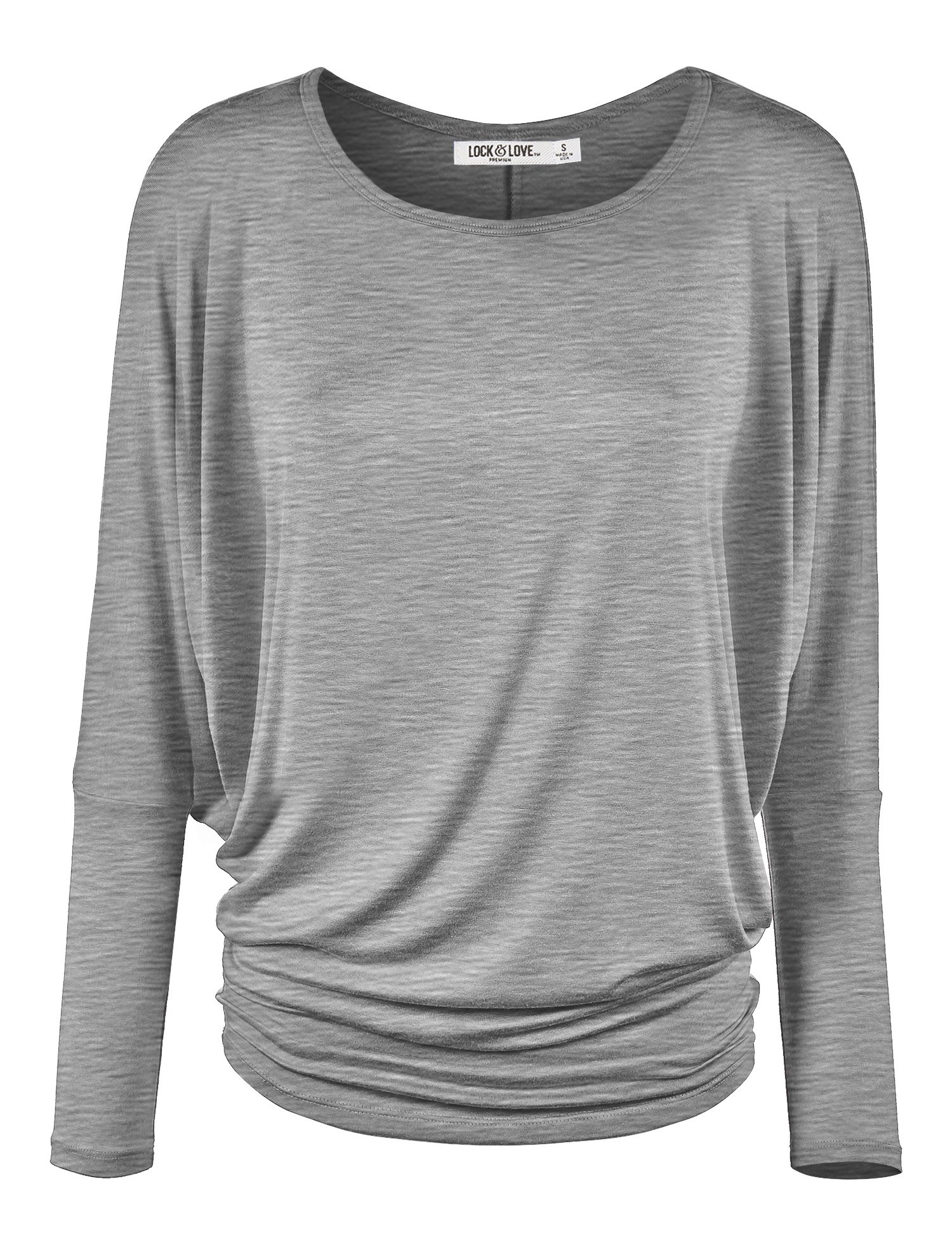 Lock and Love WT826 Womens Batwing Long Sleeve Top L Heather_Grey