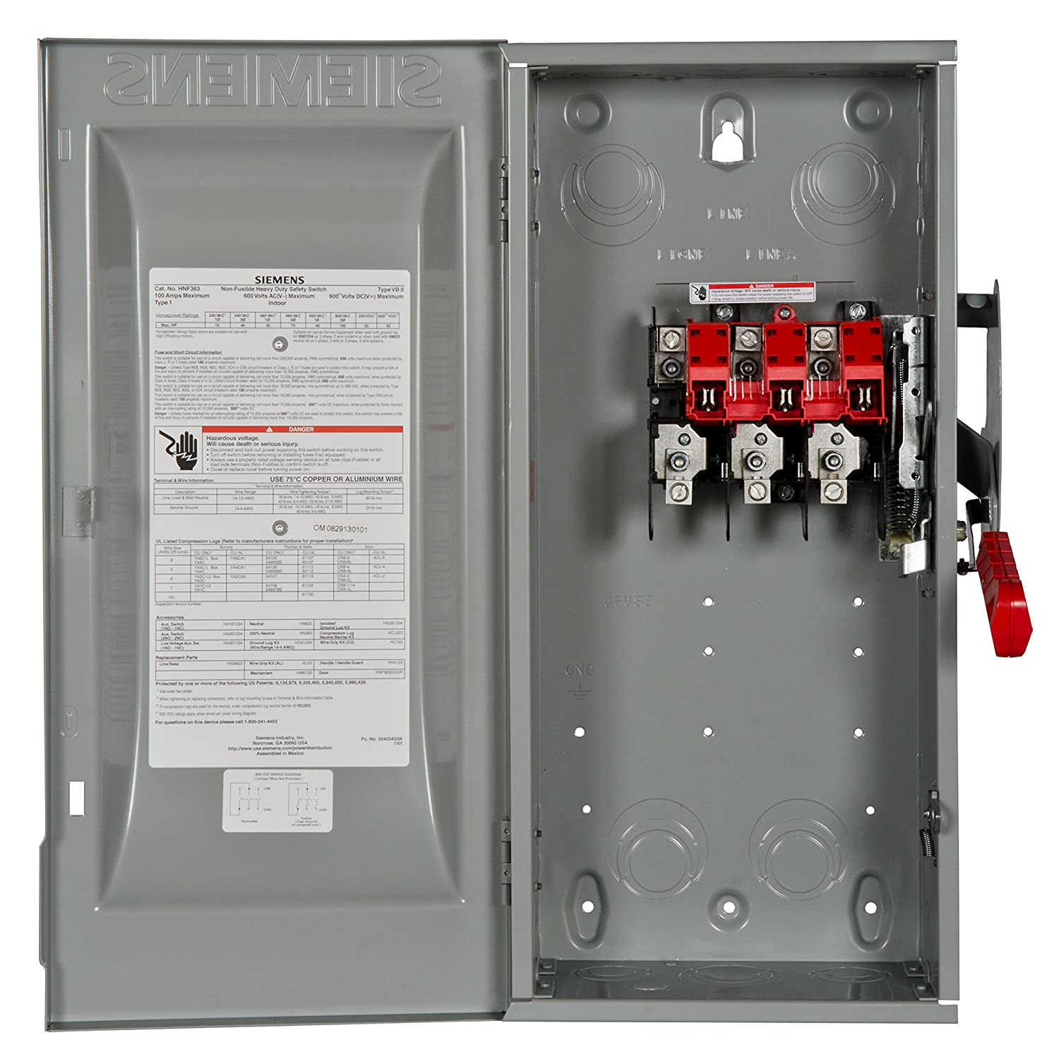 Siemens HNF363 100-Amp 3 Pole 600-volt 3 Wire Non-Fused Heavy Duty ...