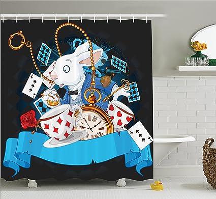 Amazon Com Ambesonne Alice In Wonderland Decorations Shower Curtain