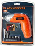 BLACK+DECKER KC3610 3.6V NiCd Cordless Screw Driver Kit (Orange, 10- Accessories included)
