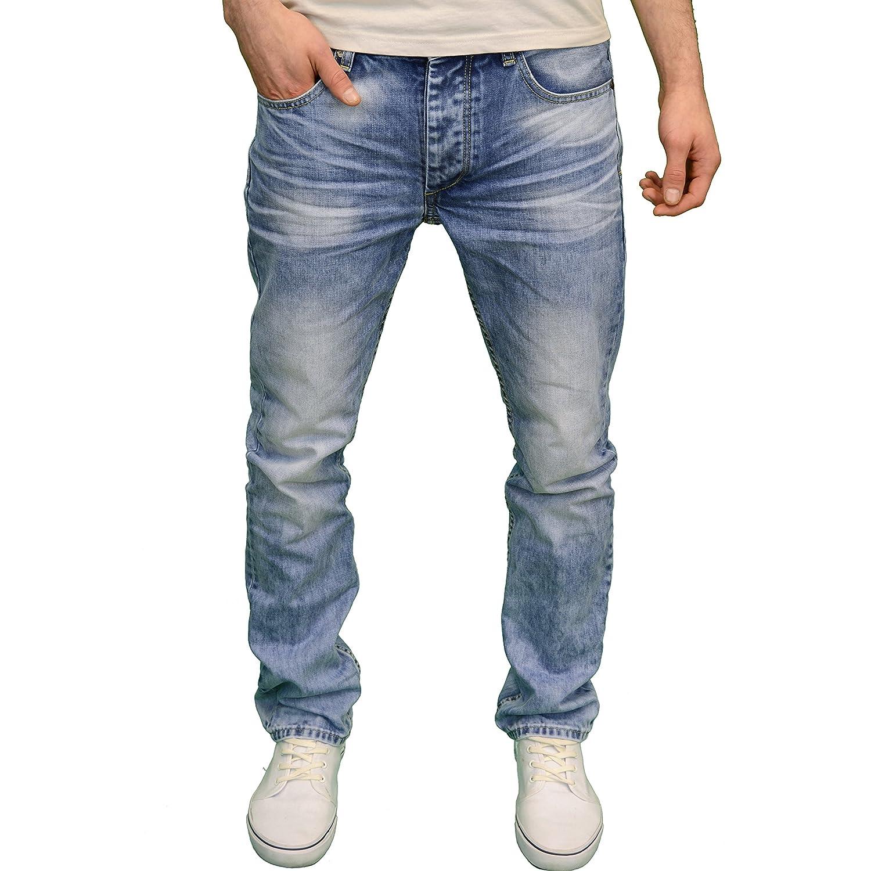 Eto Mens Designer Branded Regular Fit Straight Leg Light Stonewash Jeans