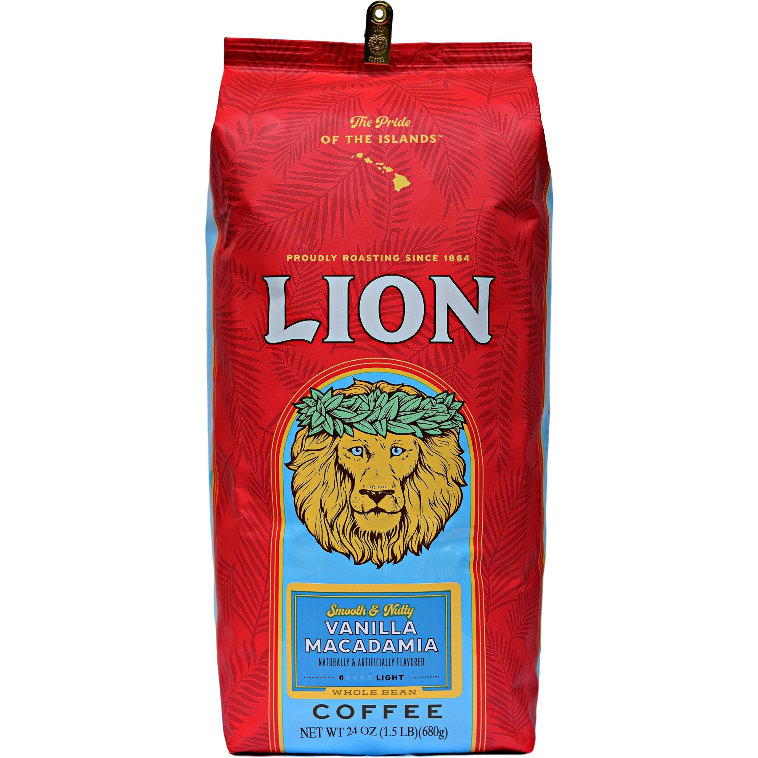 Lion Coffee, Vanilla Macadamia Flavor, Light Roast, Whole Bean, 24 Ounce Bag