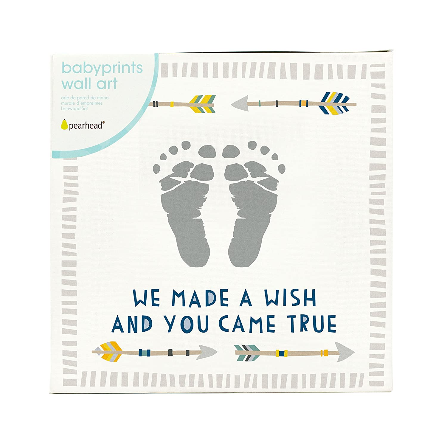 White Pearhead Babyprints Wall Art with Paint Boy