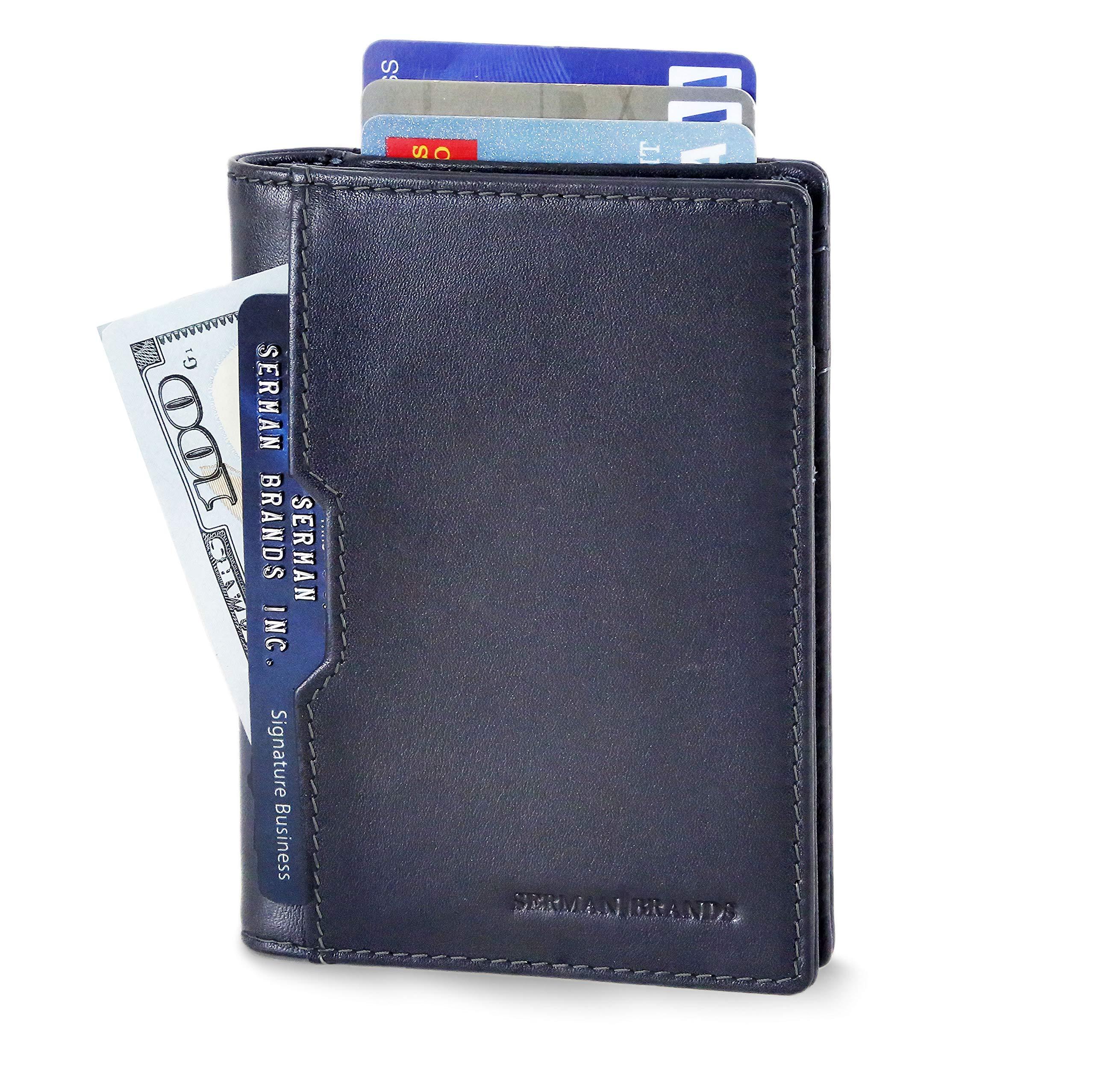 8ddd11de839ceb SERMAN BRANDS - Wallets for Men Slim Mens leather RFID Blocking Minimalist  Card Front Pocket Bifold