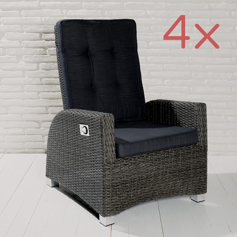 4 XL Gartensessel Barcelona Living Sessel grau ink. Auflage Poly Rattan Stühle