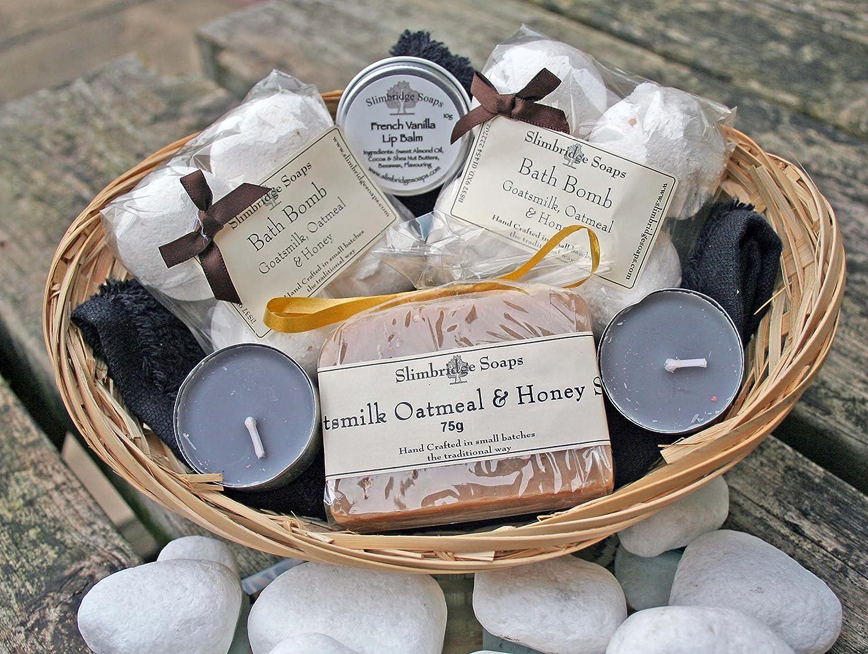 Bath Time Pamper Basket - Goatmilk Oatmeal & Honey Slimbridge Soaps