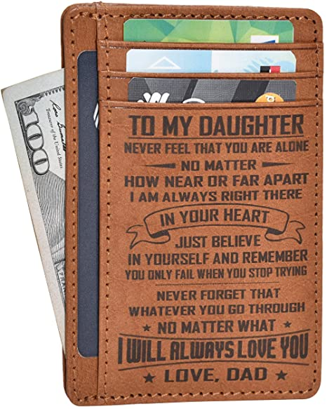 a0c3364ddd23f Engraved Father Daughter Gift Wallet - Personalized Anniversary Birthday  Gifts for Her From Mom Front Pocket