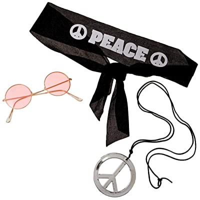 Forum Novelties Hippie Costume Accessory Kit - Includes Peace Headband, Pendant & Glasses: Toys & Games