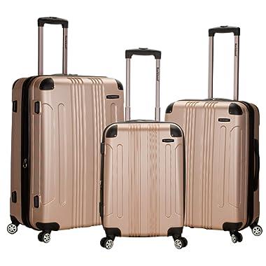 Rockland Luggage 3 Piece Abs Upright Luggage Set, Champagne, Medium