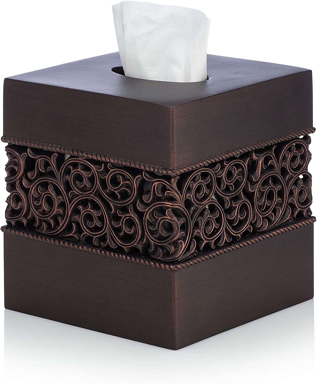 Essentra Home Bronze Finish Square Tissue Box Cover for Bathroom Vanity Counter Tops Also Great for Bedrooms and Living Rooms