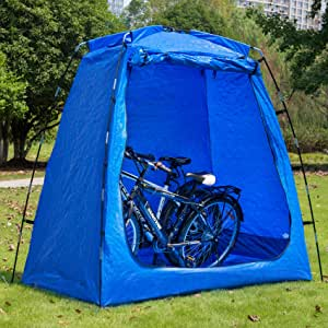 "EighteenTek Bike Storage Shed Tent Waterproof Portable Backyard Outdoor Bicycle Yard Stash Shelter Space Saving for Garden Pool Patio 75""x43""x74""H Patent Pending"