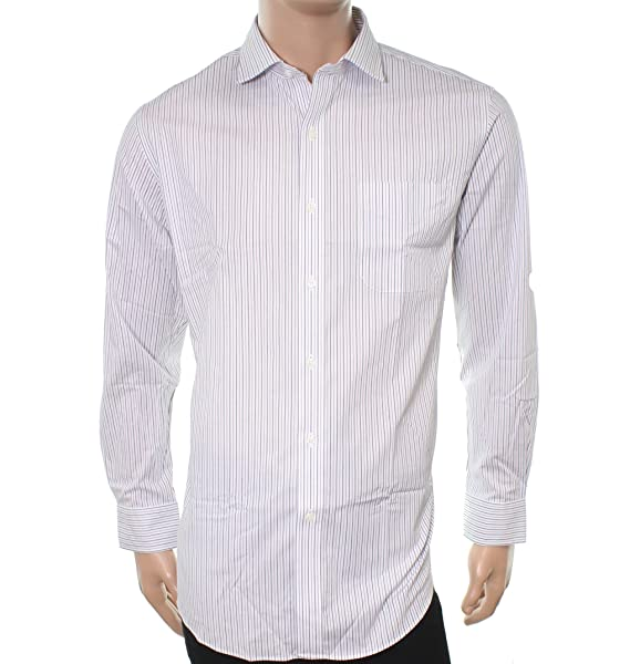 6d34348c0e62 Lauren Ralph Lauren Men s Stretch Poplin Spread Collar Slim Button Down  Shirt White Purple Multi