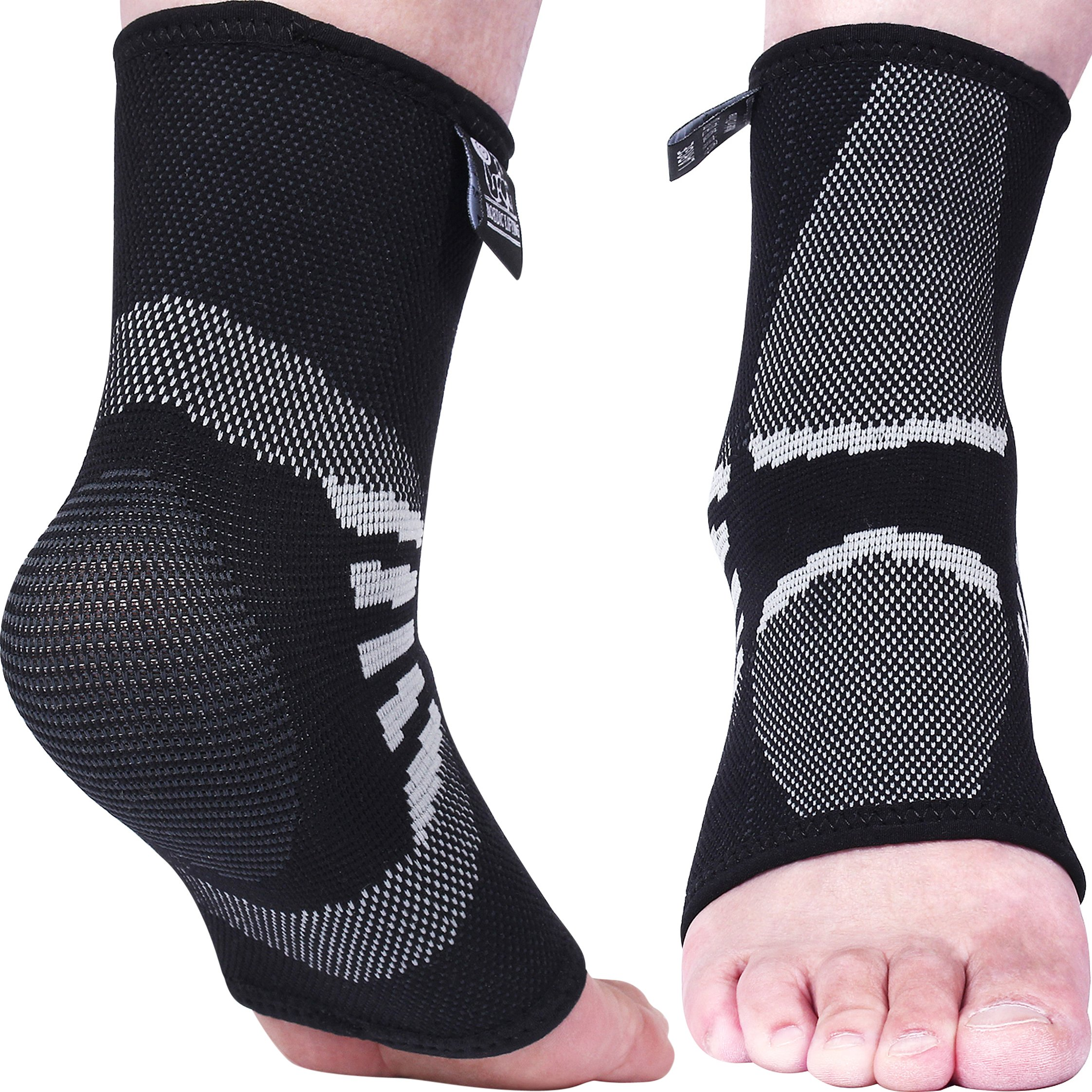 Nordic Lifting Ankle Compression Sleeves (1 Pair) - Support for Injury Recovery & Prevention - 1 Year Warranty (Grey, Medium)