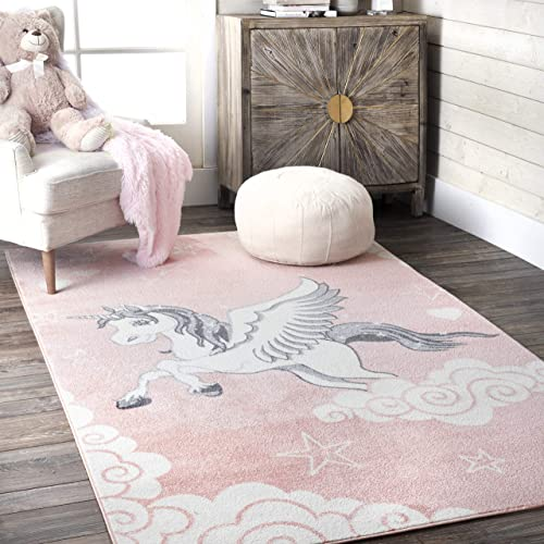 nuLOOM Storyteller Flying Unicorn Nursery Area Rug, 9 x 12 , Pink
