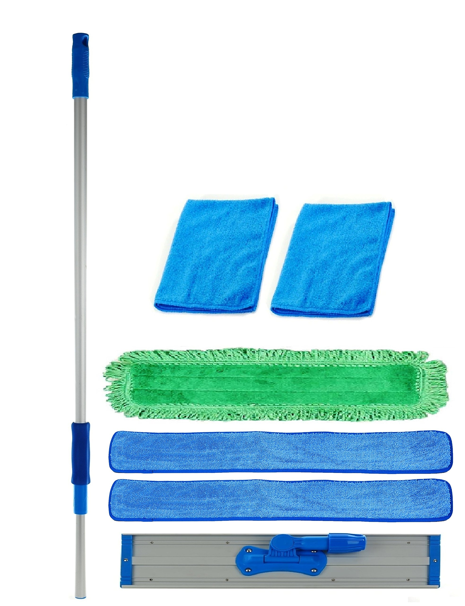 36 inch Professional Commercial Microfiber Mop With Three 36'' Microfiber Mop Pads and 2 Bonus Microfiber Towels