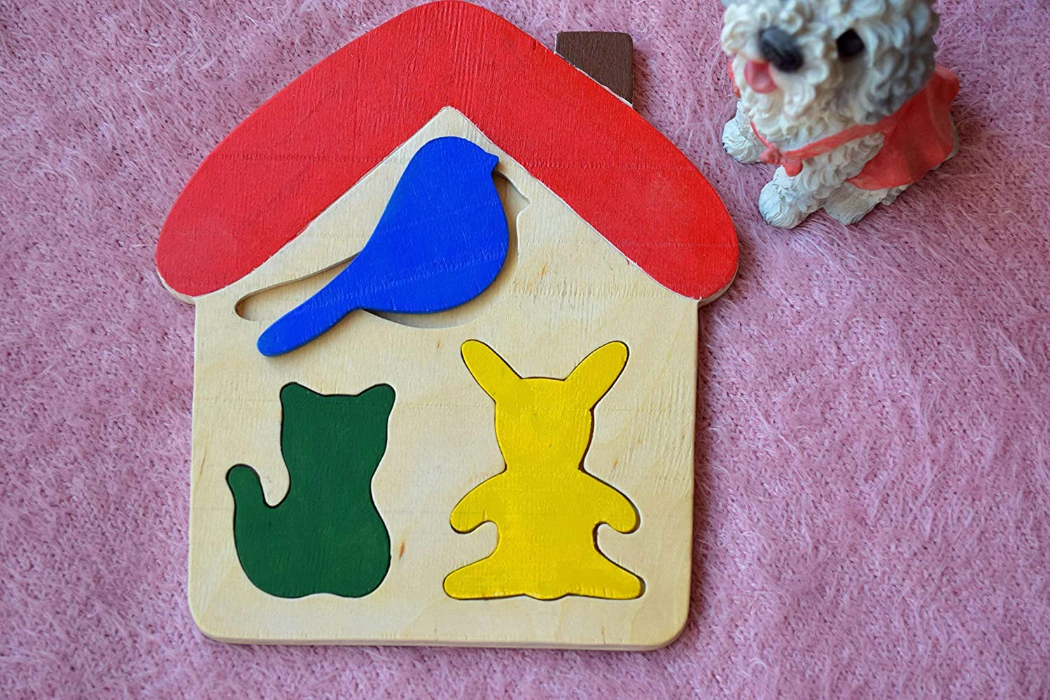 Wooden Puzzle Baby Toy House Children Activity Kids Nursery Sorting Developmental Toys Game Travel Church Play