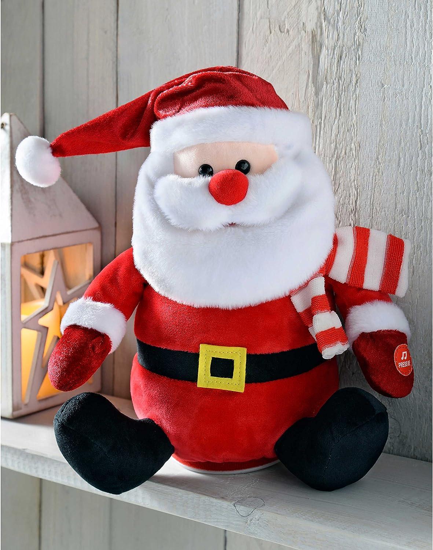Babbo Natale Musicale.Babbo Natale Musicale Che Saluta Multicolore Werchristmas 24 Cm Oggettistica Com Decorazioni Per Interni